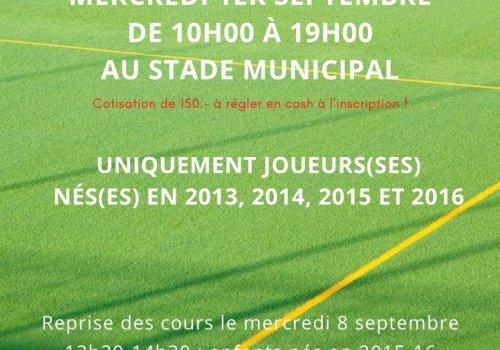 INSCRIPTIONS ECOLE DE FOOTBALL 2021-2022